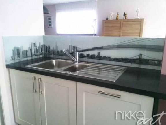 cr dence de cuisine en verre imprim new york. Black Bedroom Furniture Sets. Home Design Ideas