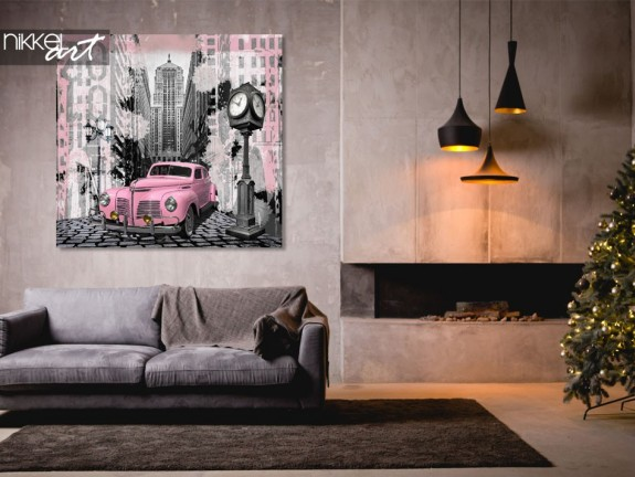 Photo sur Aluminium Voiture vintage rose